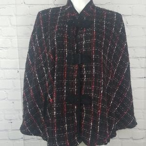 Anne Carson tweed cape with buckles